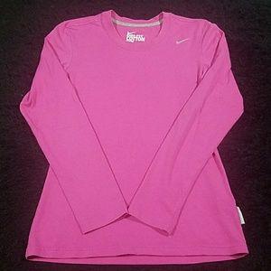 womens nike dri fit longsleeve shirt pink